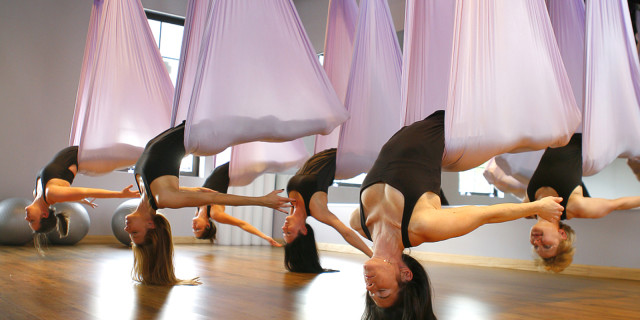 advanced aerial yoga backbend